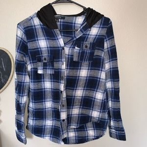 Blue & Black flannel with a hoodie